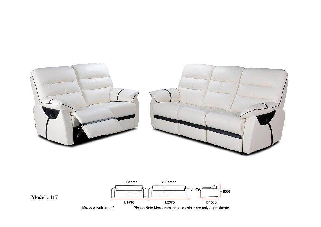 Alena Rose Recliner Sofa 2+3 Seater Leather Sofa