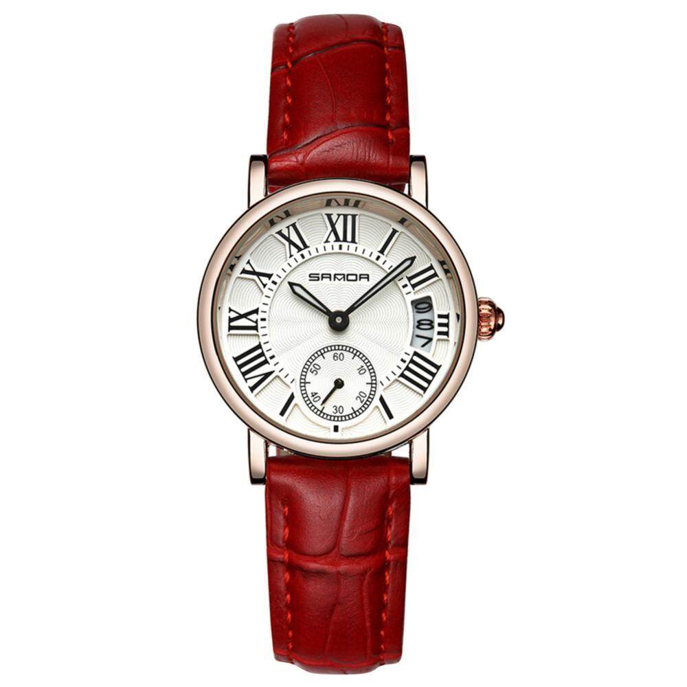 6Colors Sanda Women Lady Analog Round Quartz Leather Strap Date Watch Classical Wristwatch - intl