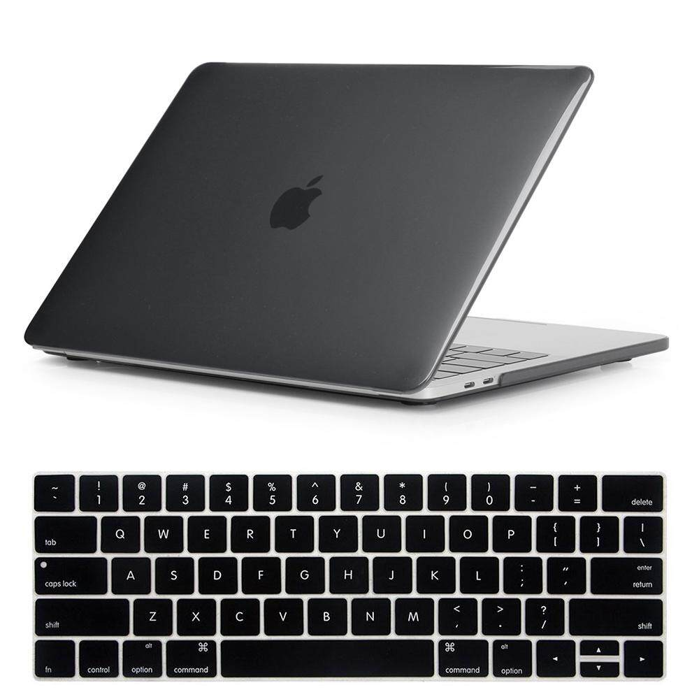 NORTHJO 2 in 1 Protective Crystal Hard Shell Case and Keyboard Cover for Apple Macbook Pro 15 Inch with Touch Bar and Touch ID - Model: A1990/A1707 (Crystal Black)