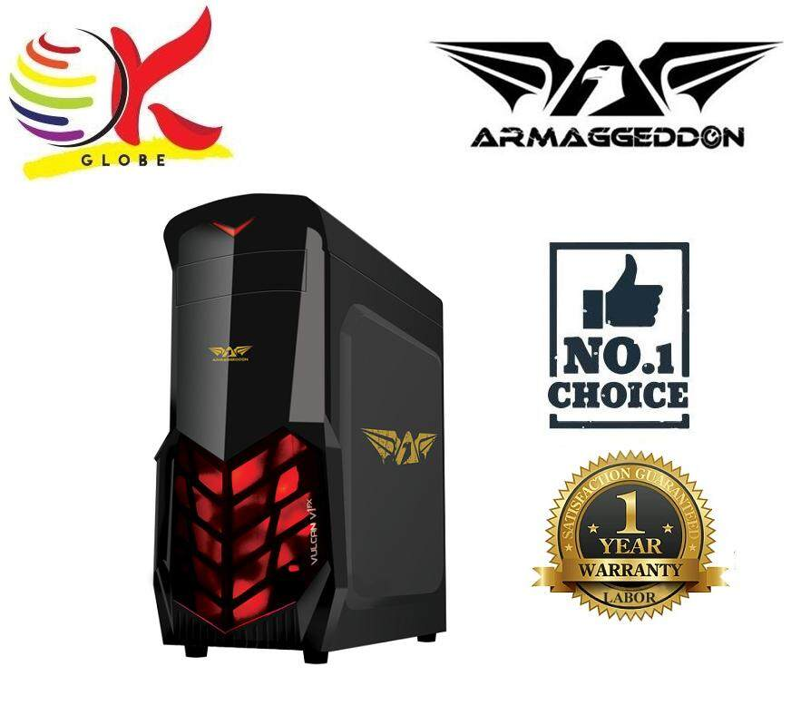 ARMAGGEDDON VULCAN V1X FULL ATX GAMING CHASIS BLACK COATED CHASSIS WITHOUT PSU SEE THRU TRANSPARENT SIDE PANEL Malaysia