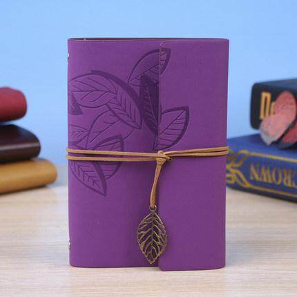 Vintage Leaf Leather Cover Journal Notebook(Purple)