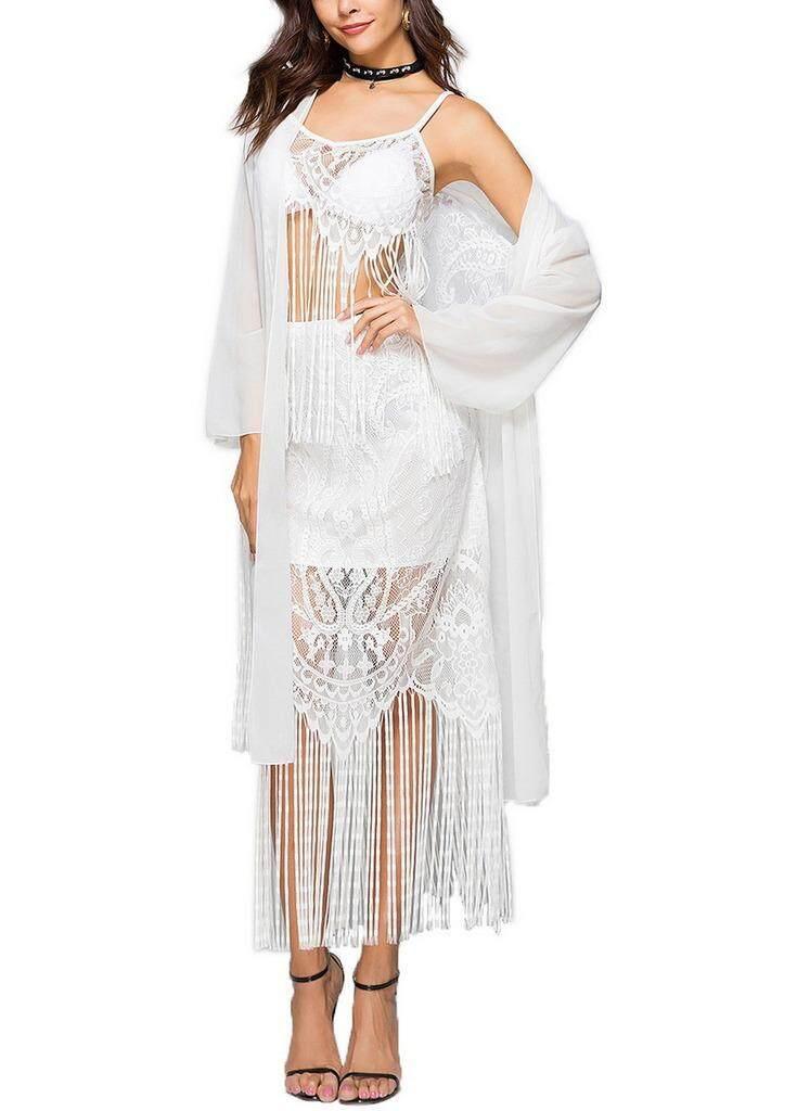 Bigood Wanita Jaring Transparan Rumbai Kardigan Panjang Sifon Baju Renang Putih