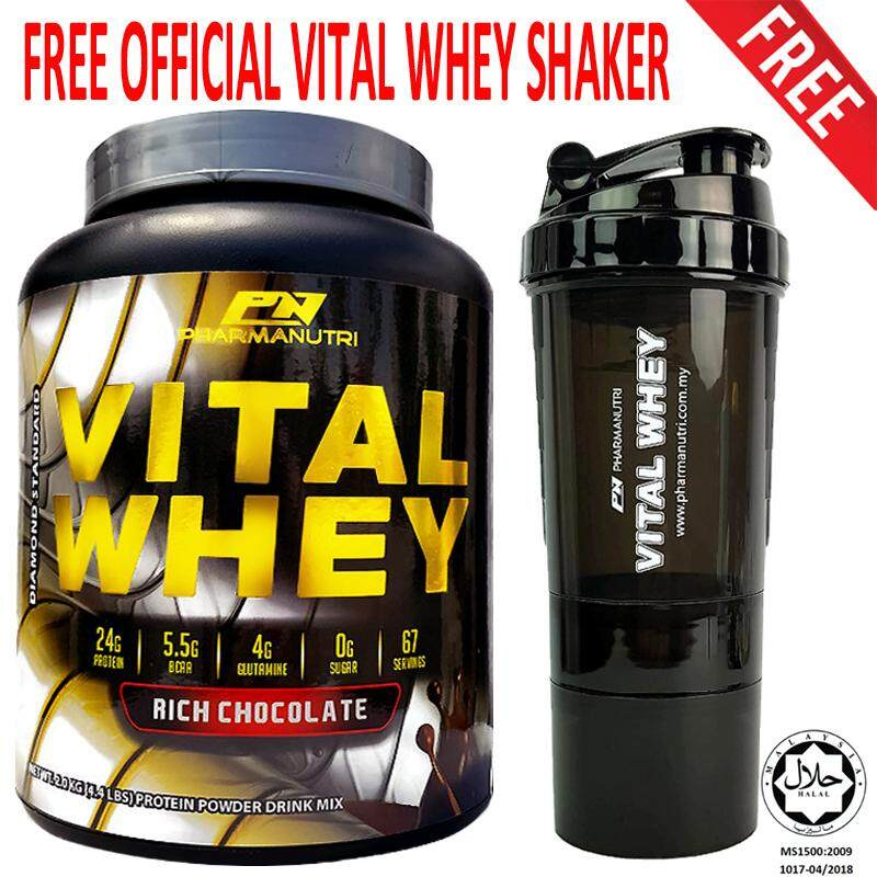 Whey Protein Halal – Vital Whey 2kg/4.41lbs, Whey Isolate With 24g Protein, 67 Servings - Fast Muscle Recovery (Rich Chocolate) + FREE Official 3-in-1 Pharmanutri Vital Whey Protein Shaker/Blender/Mixer 17oz/500ml (Black)