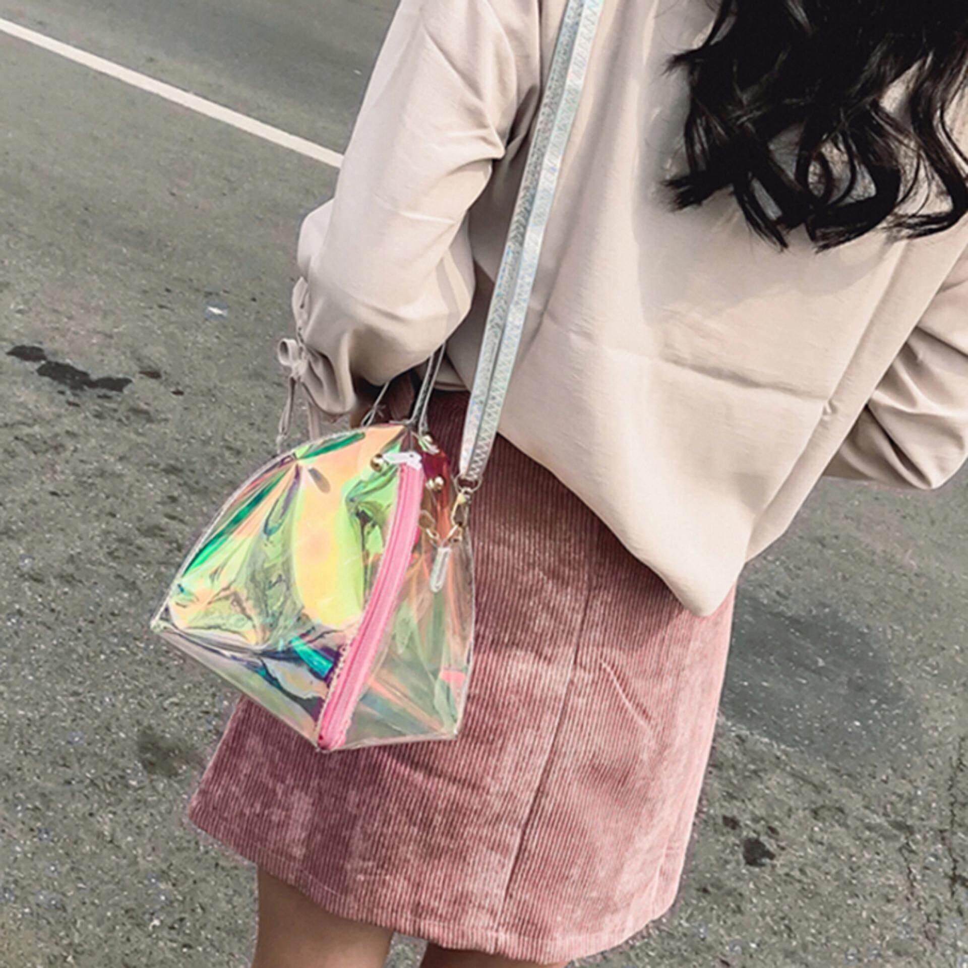 Mini Wanita Jelas Tas Tangan PVC Transparan Tas Belanja Musim Panas Pantai Shouler Tas