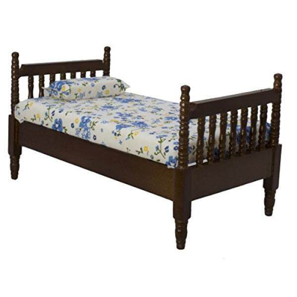 Miniature Dollhouse Bed   Dolls House Furniture Queen Bed  Dark Brown 1/12  Scale