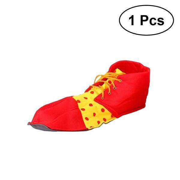 1 ชิ้นพรหม Performance Props รองเท้าตัวตลก Dot ฮาโลวีนเครื่องแต่งกายรองเท้าตัวตลกสำหรับผู้หญิงผู้ชาย (สีแดง).