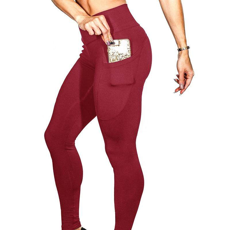 f81b1c664d2b9 HiQueen Women Yoga Pants Gym Leggings with Phone Pockets Slim Fit Sports  cropped pants