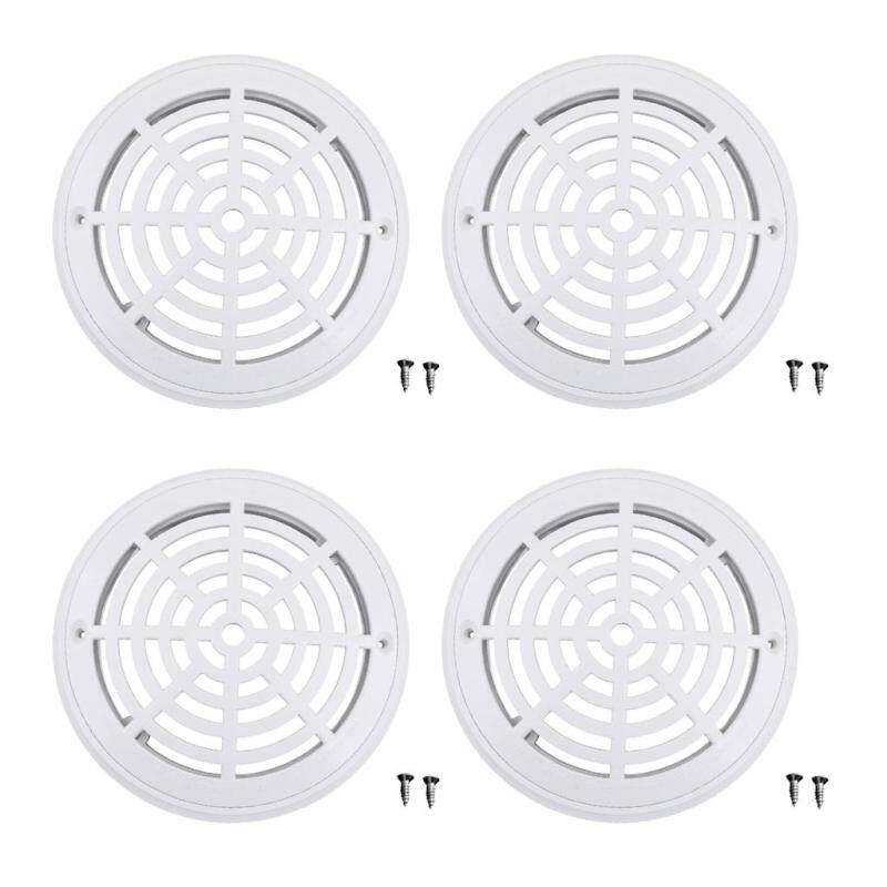 MagiDeal 4pcs Replacement Cover Main Drain Swimming Pool Accessary with Screws White