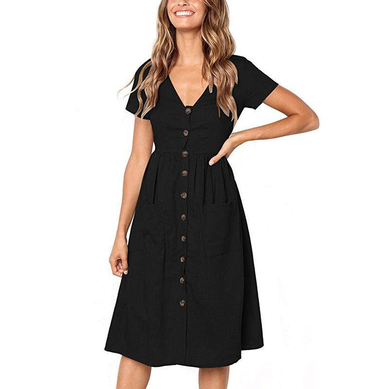 92e3528fa29 Women's Fashion Summer Short Sleeve V Neck Button Down Swing Midi Dress  with Pockets Beach Summer