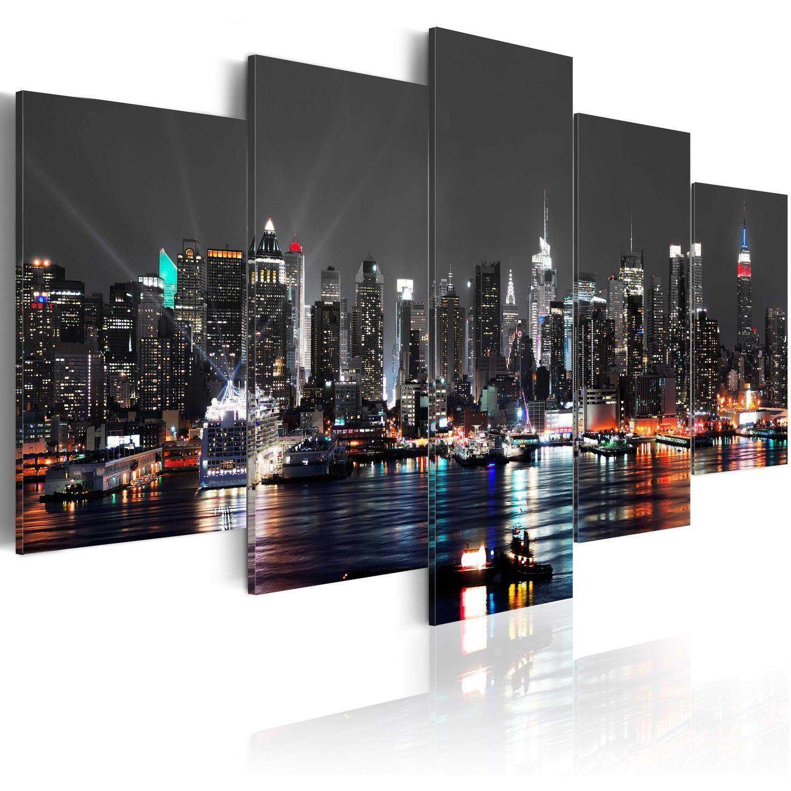 5 Panels USA New York City Night Canvas Print Pictures Wall Art Canvas Painting#No Framed