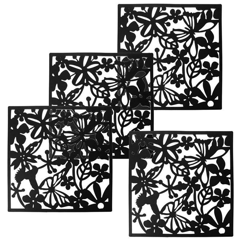 Fashion 4 Pcs Butterfly Bird Flower Hanging Screen Partition Divider Panel Room Curtain Home Decor Black - intl