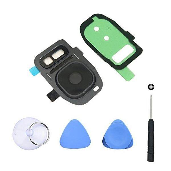 EMiEN Back Camera Glass Lens Cover + Rear Camera Bezel with Adhesive + Flash Cover Pre-installed Replacement Parts + Repair screwdriver for Samsung Galaxy S7 / S7 Edge (Black)
