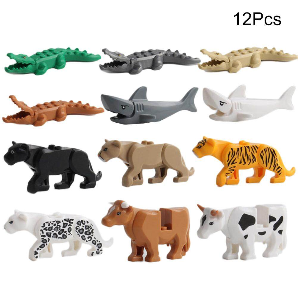 12pcs Crocodile Tiger Cow Buildable Model Kids Animal Building Block Fit Lego By Yongzhiliu.