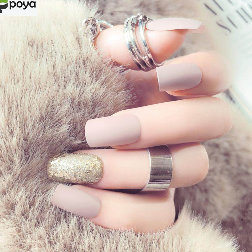 Poya 24Pcs Matte Beauty Long nail tips salon full cover false french nail art tips fake acrylic nails art makeup manicure Philippines