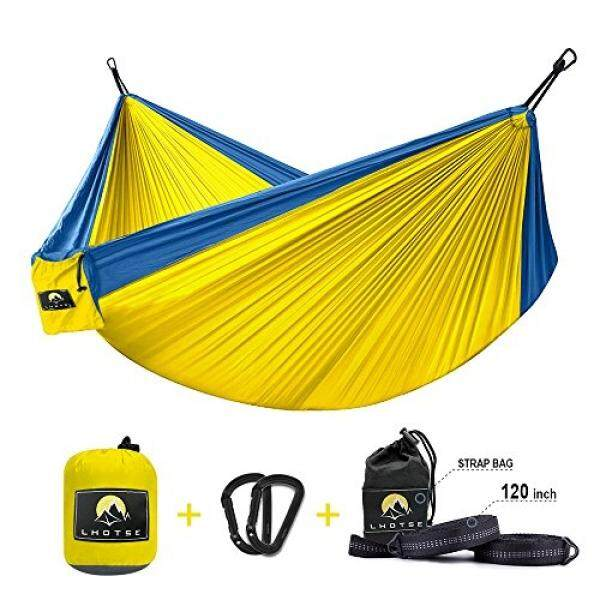 LHOTSE Best Quality 2 Person Double Hammock - 120 x 80, 1000lbs Strong Capacity, 120 Long Tree Straps, Lightweight Parachute Nylon Hammock for Backpacking, travel, camping, beach, backyard - intl