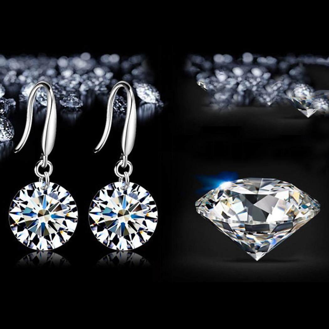 Hot Sale Women Elegant Round Artificial Diamond Hook Pierced Dangle Earrings - intl
