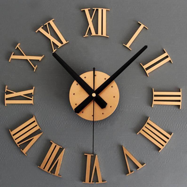 DIY 3D Wall Clock Sticker Roman Numeral Metal Watches Home Decor - intl
