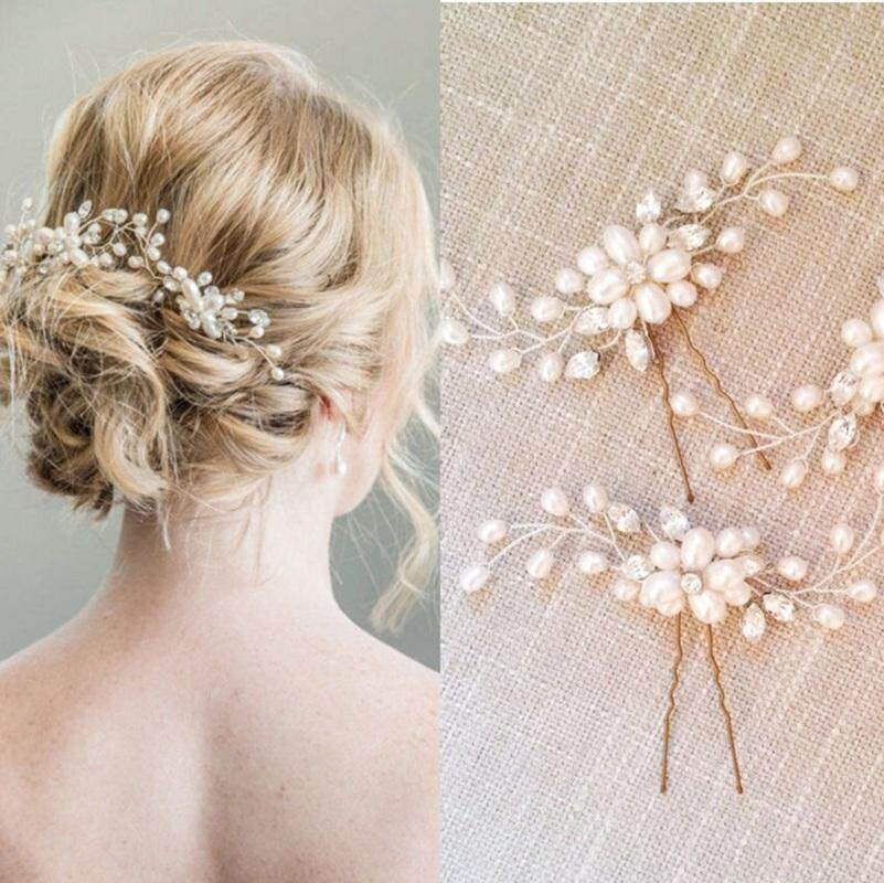 22b02c943 Singapore. 2pcs Women Floral Wedding Tiara Handmade Pearl Flower Hair Pin  Crystal Pearl Bridal Hair Combs hair