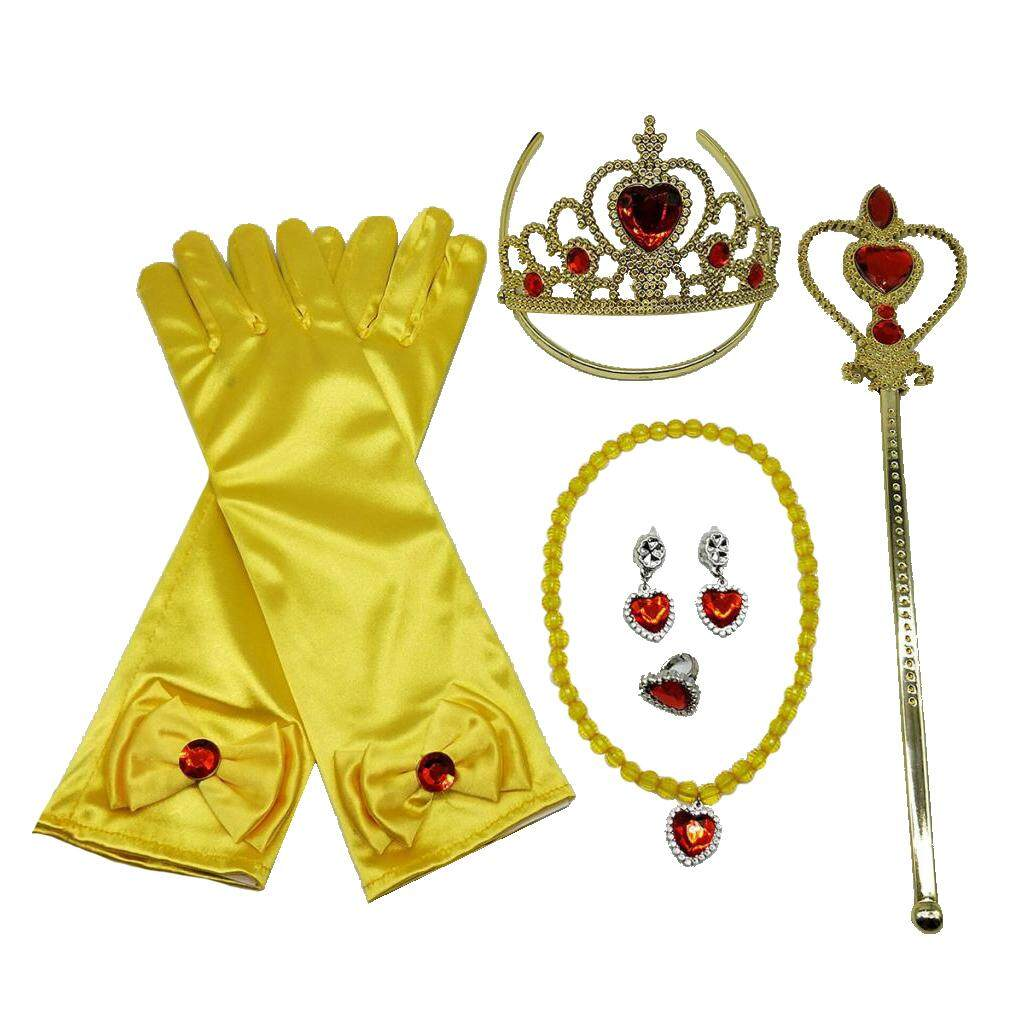ef341bf5d MagiDeal Yellow Girls Belle Princess Kids Costume Accessories Fancy Dress  Party Crown Magic Wand Gloves Necklace