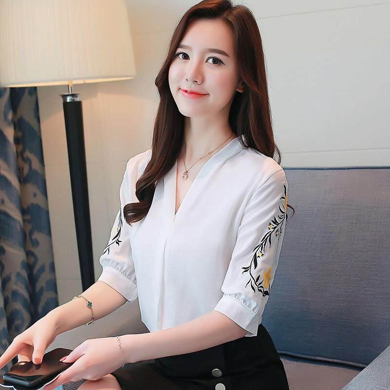 La Busana Versi Korea Baru Bordir Kaus Kerah V Lengan Pendek Baju Sifon Kemeja Wanita
