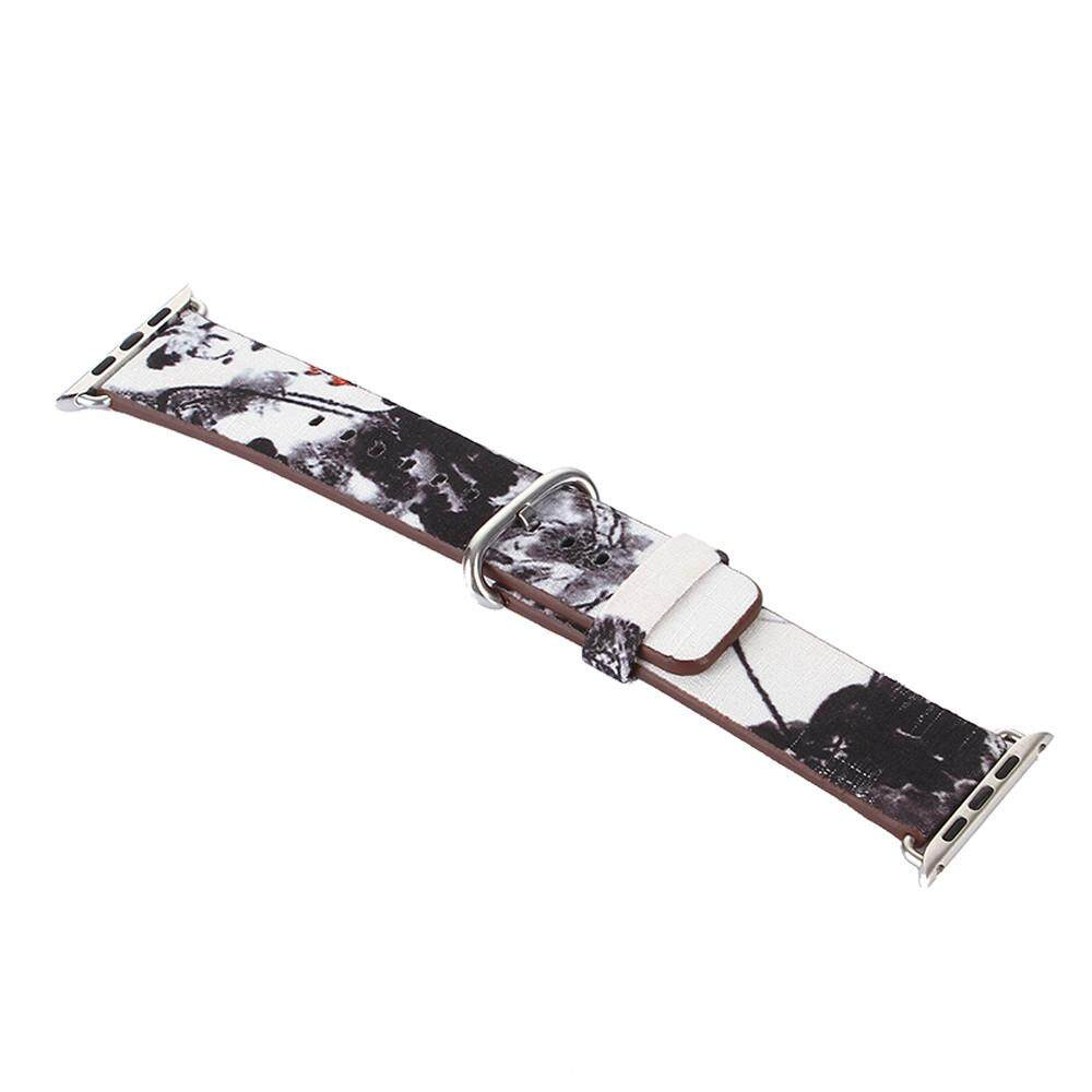 Malloryshop Lukisan Tinta Tali Kulit Gelang Jam untuk Apple Watch Series 1/2 38 Mm