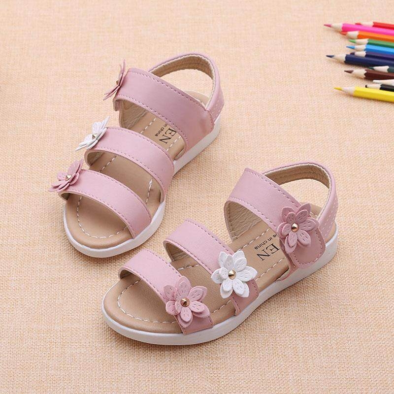 e725eb1877b336 Summer Beach Baby Girl Flat Sandals Strappy Flowers Kids Toddler Shoes -  intl