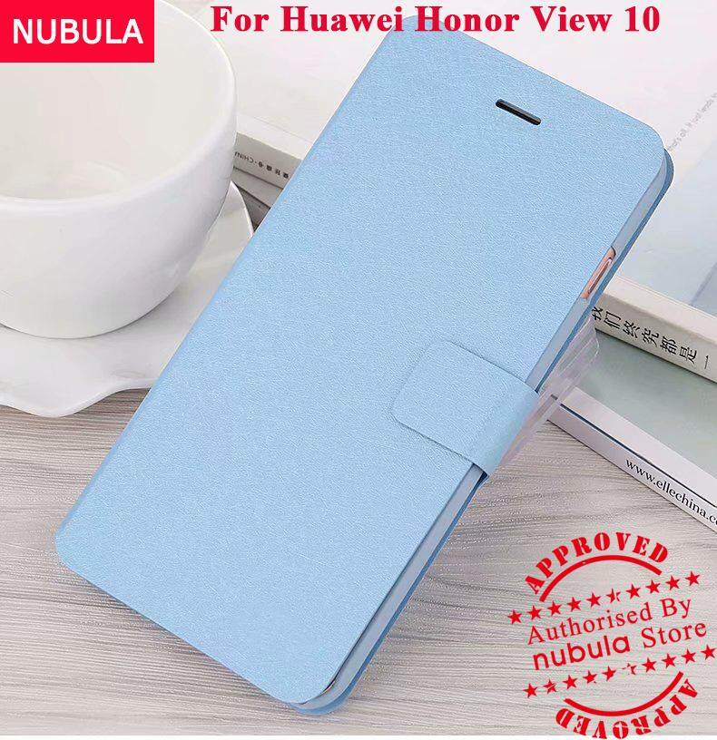 NUBULA For Huawei Honor View 10 Casing Full Cover Slim Silk Pattern With Card Slot Flip