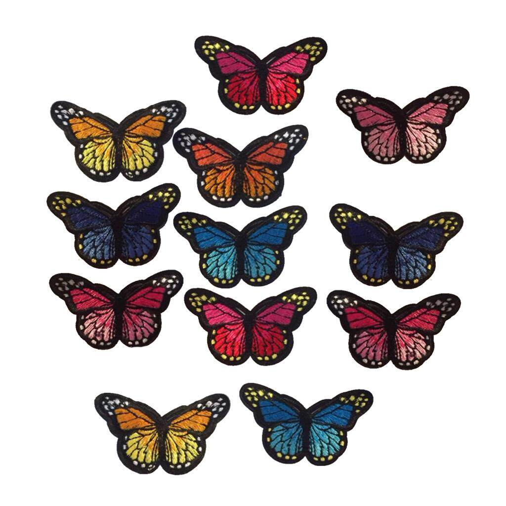 Magideal 12 Colored Sewing Butterflies Embroidery On Patch Stickers Fabric Applique By Magideal.