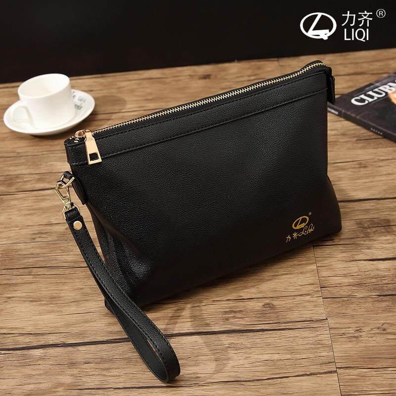 Mens Black Soft Leather Business Hand Bag Fashion Trend Envelope Clutch Bag