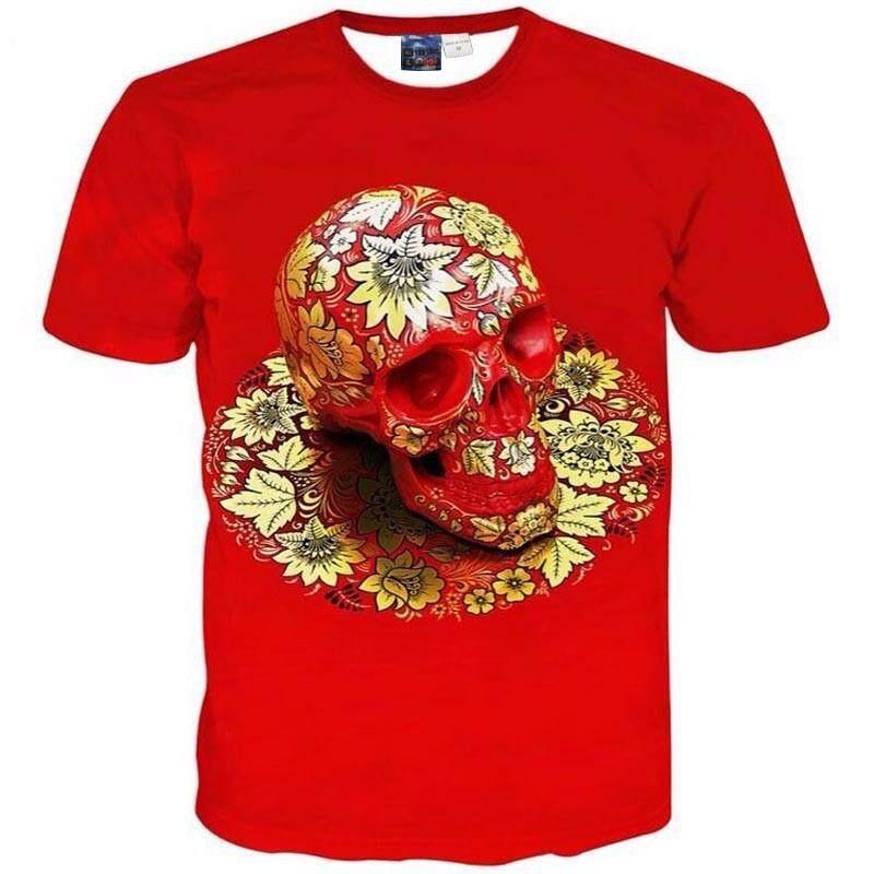 Jumeast Pria/Wanita Kaos Bermerk 3d Cetak Lengan Pendek Tengkorak T Shirt untuk Pria Tops Tees Pakaian Kasual-Intl