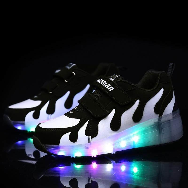 (Tốc độ Giao Hàng Chất Lượng Tốt) ĐÈN LED Nhiều Màu Sắc Gót Giày, bé trai và bé Gái Giày có Đèn-Một Bánh Xe