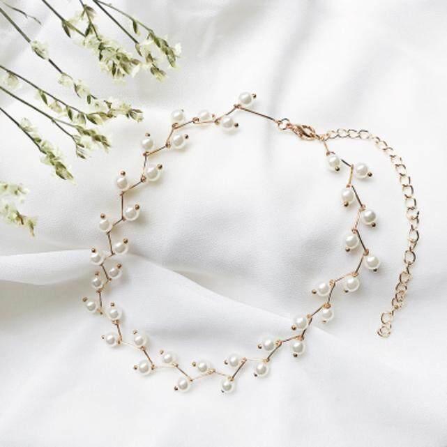【Kalung emas putih】Versi Korea dari paragraf pendek sederhana leher merah kerah kalung siswa perempuan Sen rantai leher rantai klavikula perhiasan leher neckband