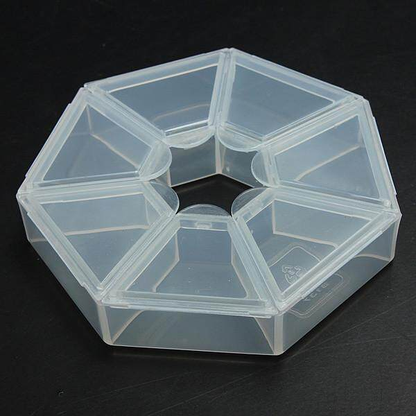 Clear Compartments Plastic Storage Box Case Craft Organizer Jewelry Bead Display, Clear 7 Slots Fixed