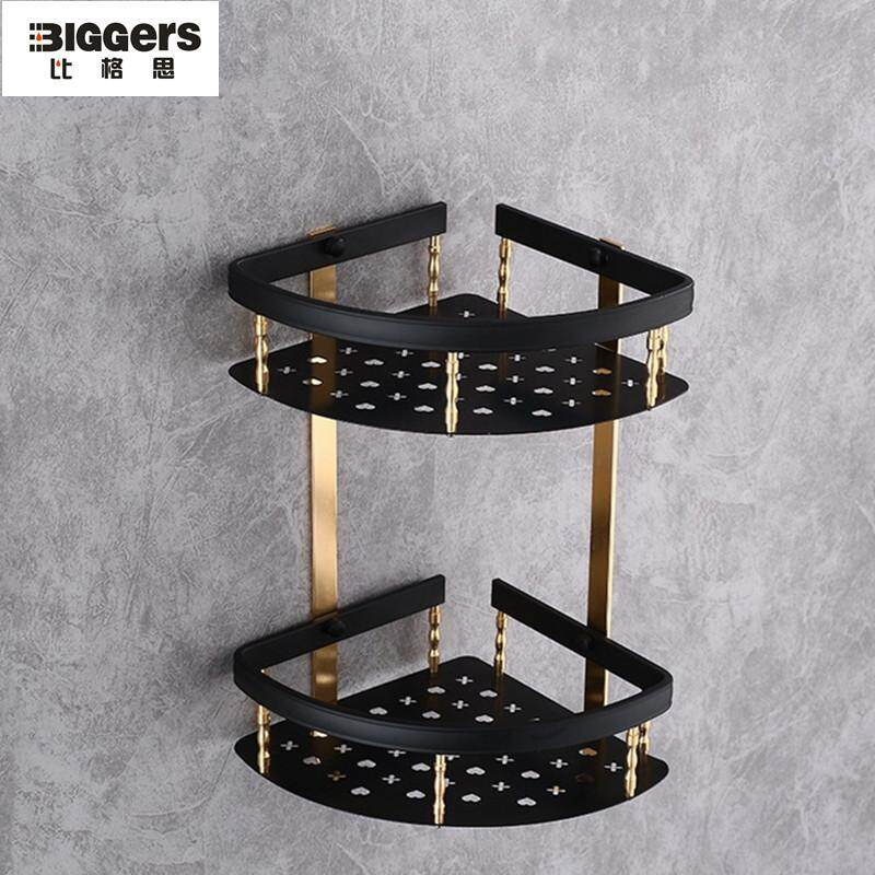 Biggers Sanitary Europe Style Gold And Black Color Aluminium Double Layer Bathroom Corner Shelf Bathroom Storage Rack By Joe And Qiao.