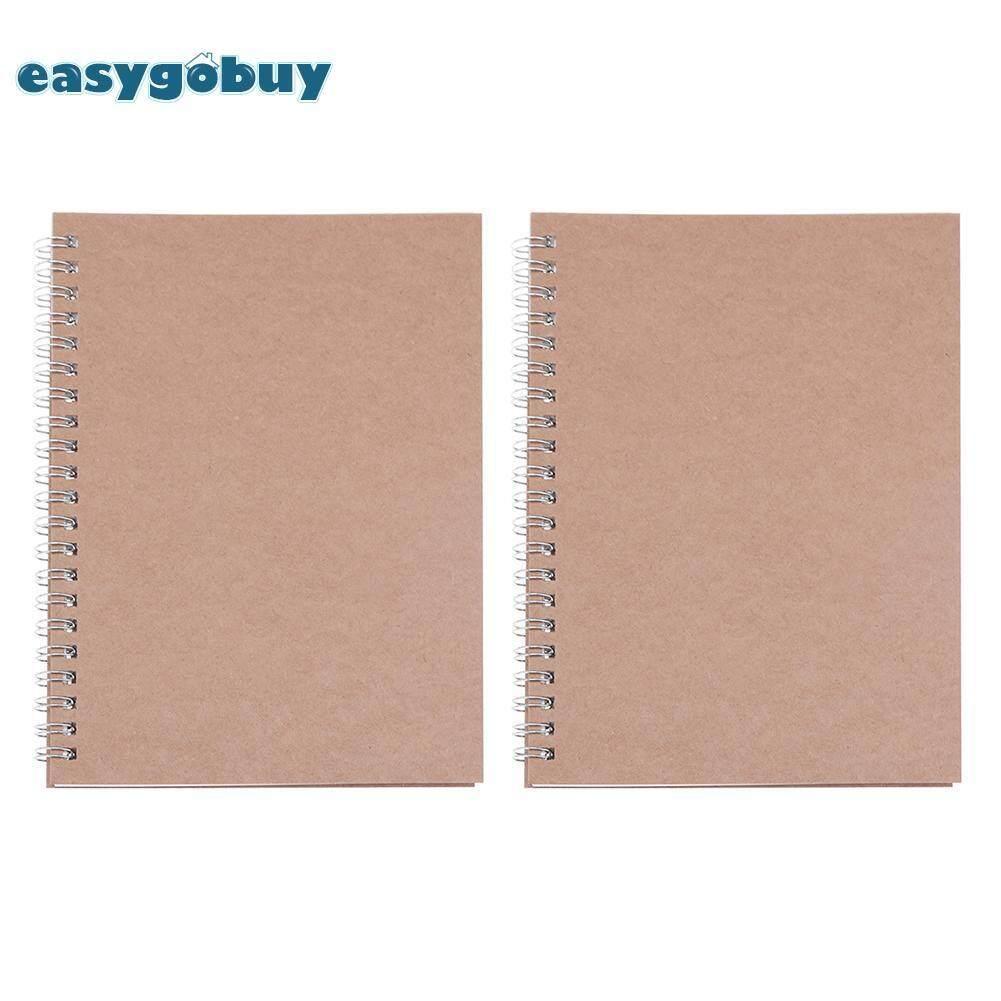 2pcs Retro Spiral Coil Grid Sketchbook Notebook Diary Journal Student Memo - intl