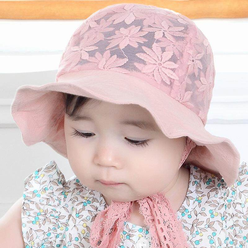 63e81281 cute baby hat summer lace flower bucket hats outdoor mesh breathable  children's summer hats for girls