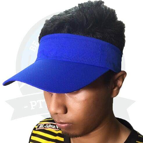 [LOCAL DELIVERY] Running Cap Visor Cap Sun Visors For Women And Men, Long Brim Thicker Sweatband Adjustable Velcro Hats Caps For Cycling Fishing - Blue