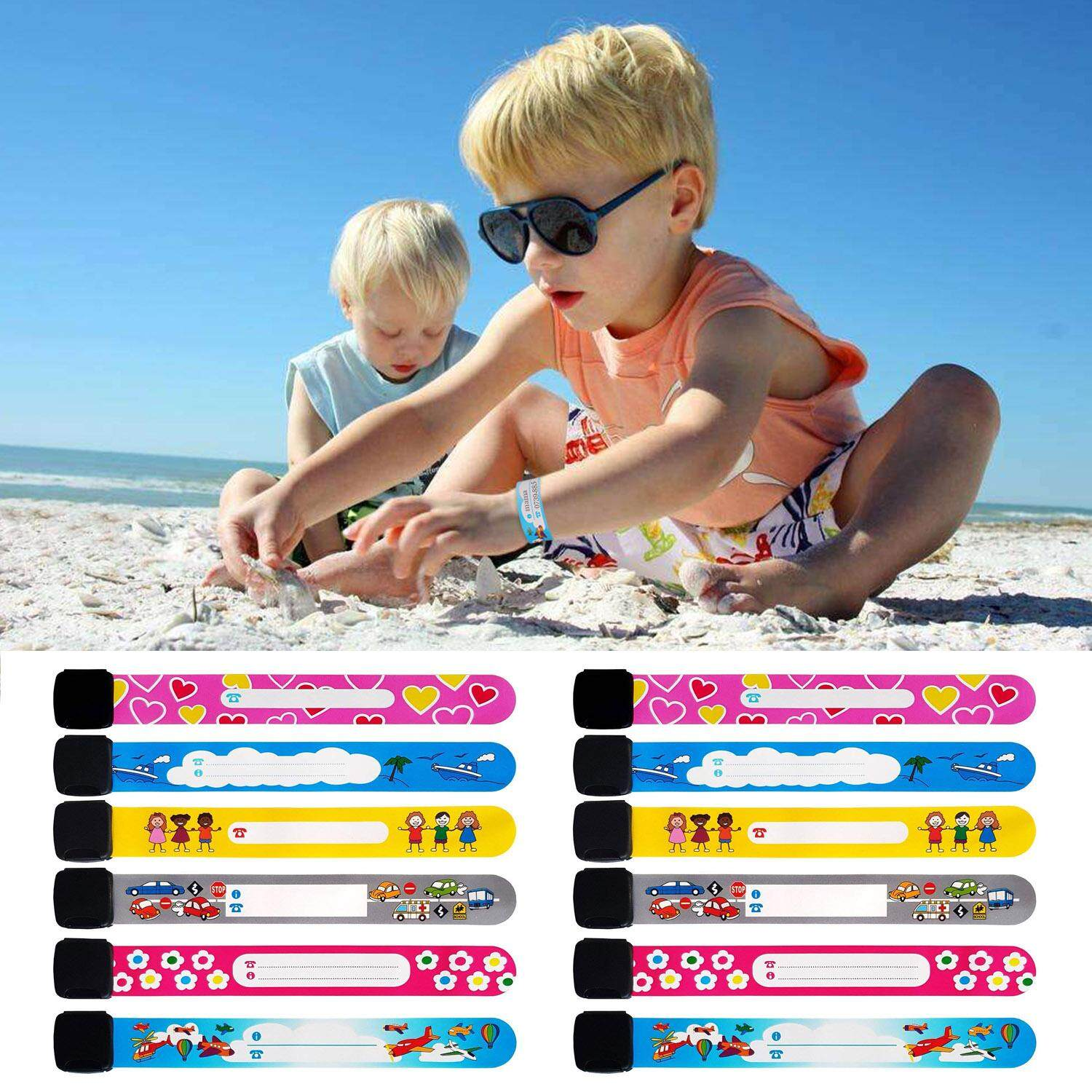 12pcs Colorful Adjustable Reusable Waterproof Child Anti Lost Wristband Id Emergency Contact Link Safety Bracelet With Buckle For Kids Outdoor Safety Random Style By Elek.