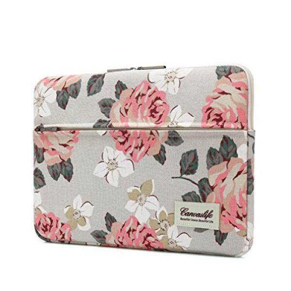 Canvaslife Pink Rose Pattern 13 inch Canvas laptop sleeve with pocket 13 inch 13.3 inch laptop case macbook air 13 case macbook pro 13 sleeve - intl