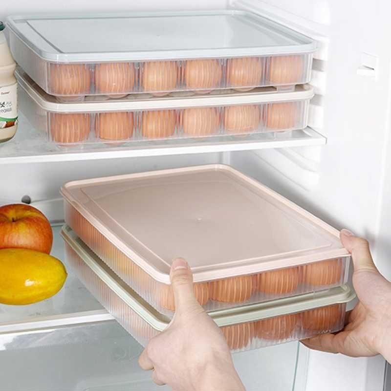 Lissng 1 PC 24 Kisi-kisi Telur Tempat Penyimpanan Kotak Penyimpanan Lemari Es Telur Organizer