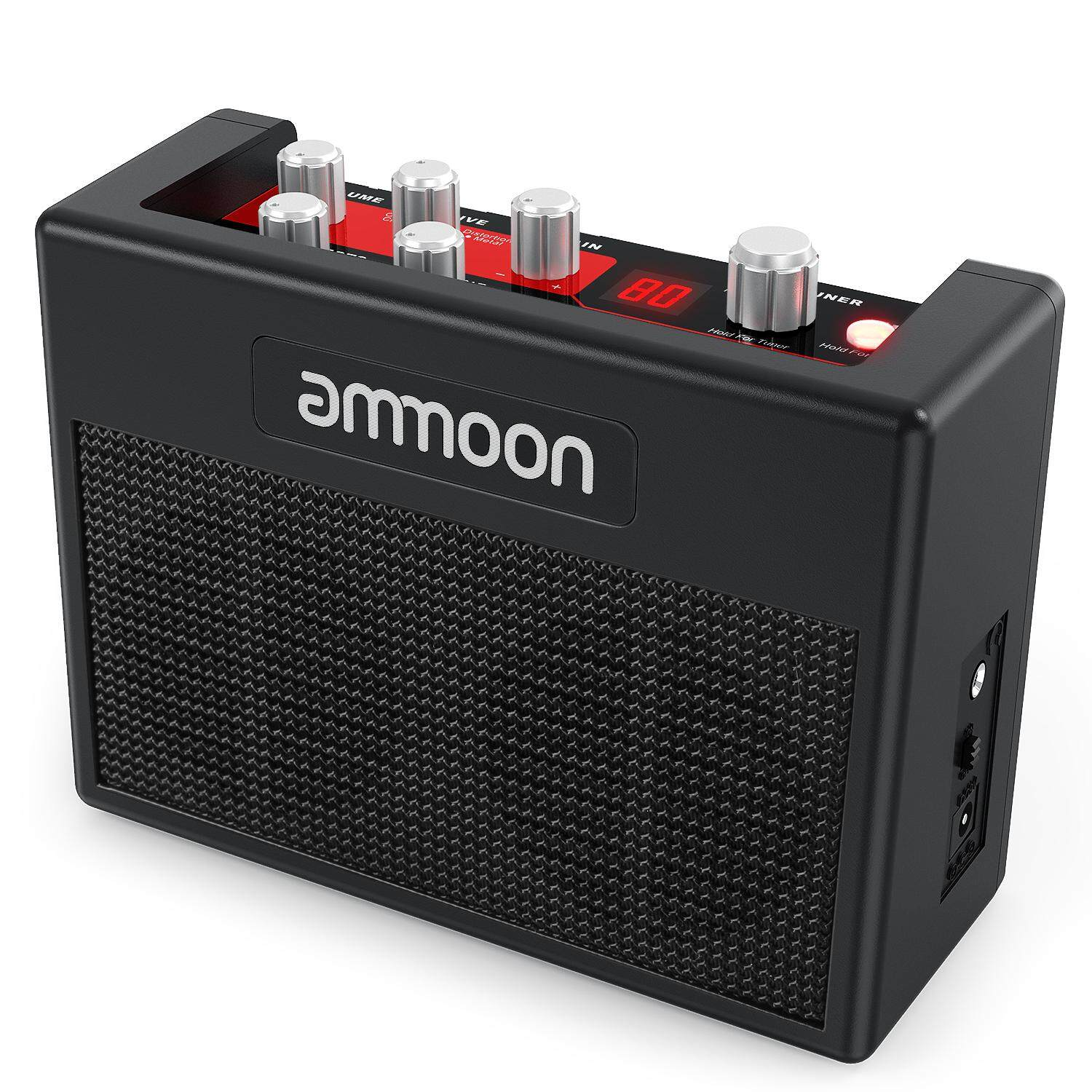 ammoon POCKAMP Portable Guitar Amplifier Amp 5 Watt Built-in Multi-effects 80 Drum Rhythms Support Tuner Tap Tempo Functions with Aux Input Headphone Output, Power adapter included