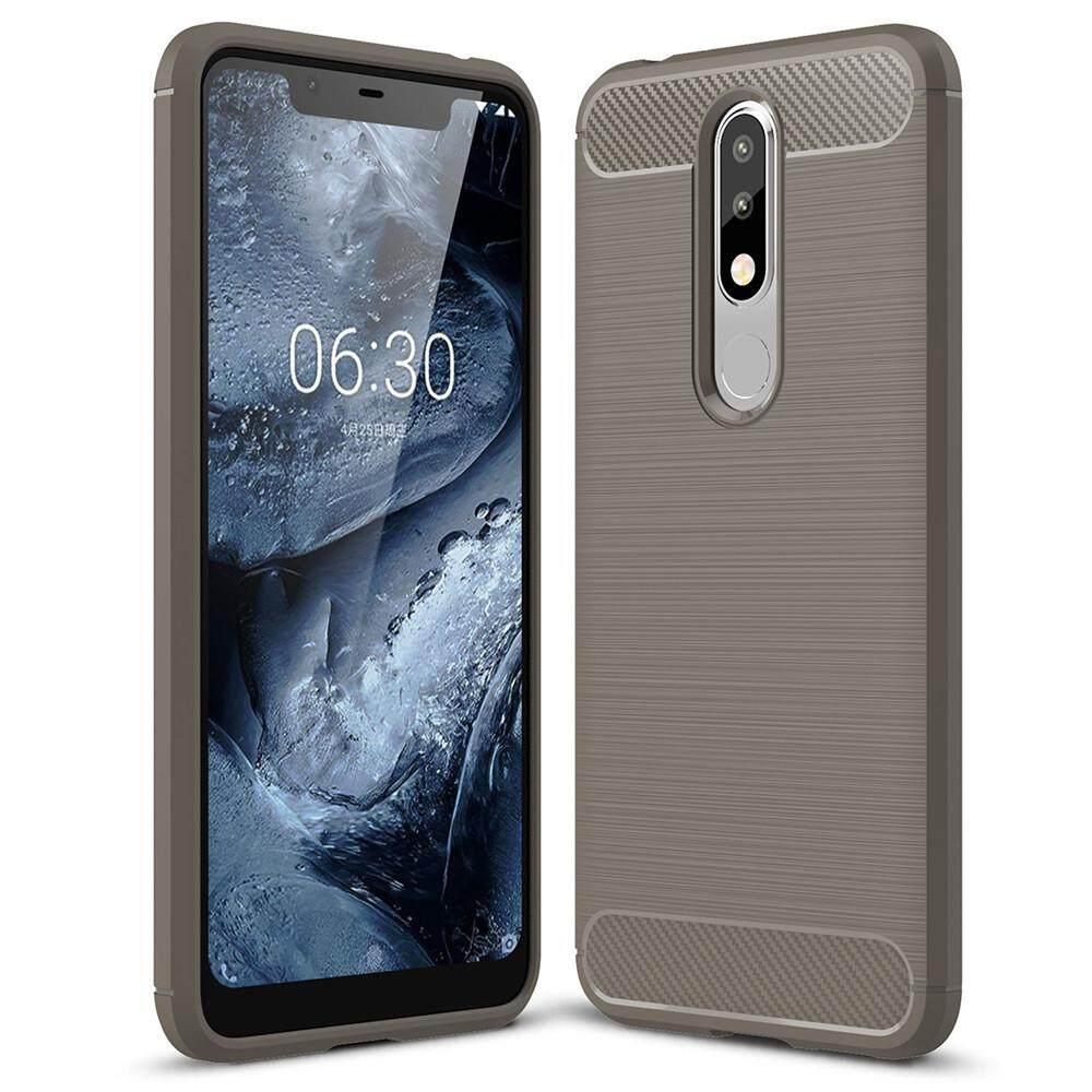 Nokia 5.1 Plus and Nokia X5 back case Lenuo Carbon Fiber Silicone Brushed Anti-knock