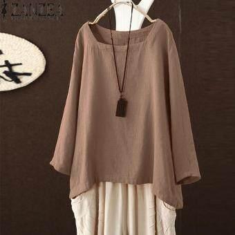 96f2d62e876 การส่งเสริม ZANZEA Women Square Cut Collar Long Sleeve Solid Tops ...