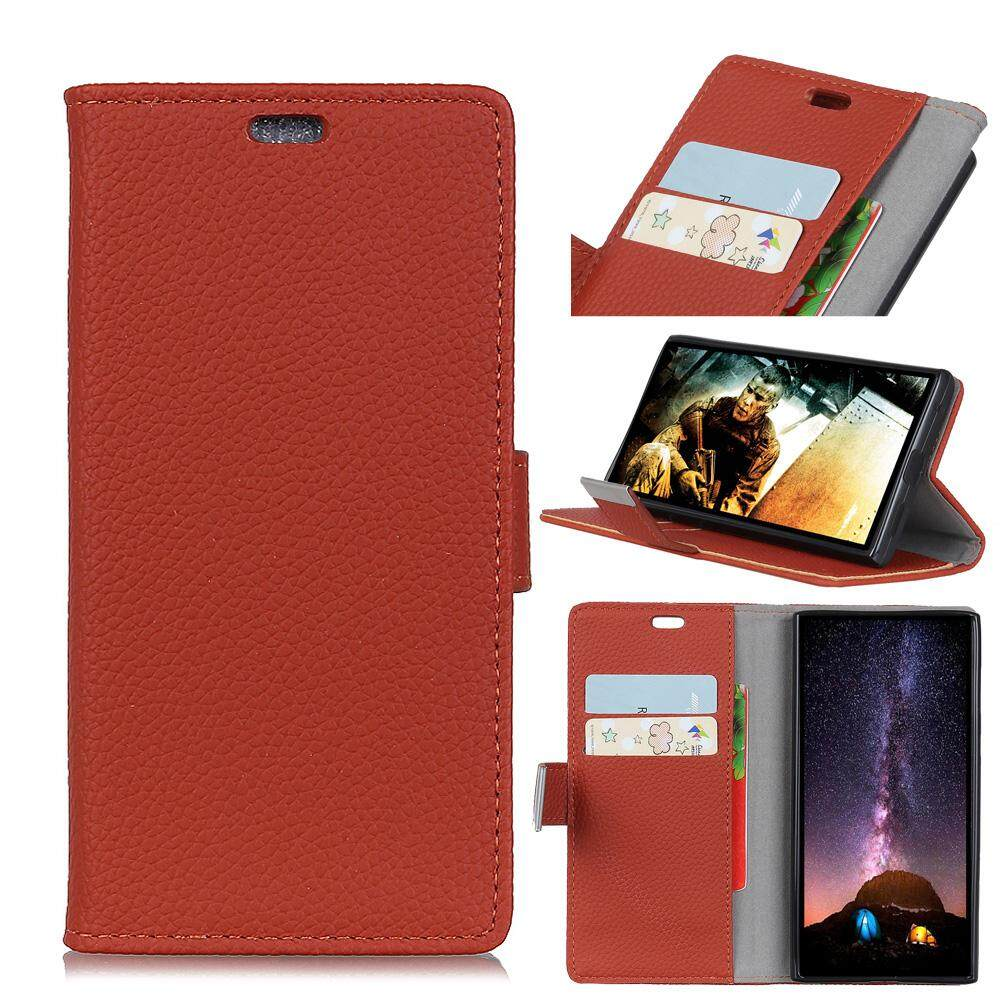 AS Beauty Phone Case for Alcatel U5 (4G) PU Leather Case Lithi Pattern Flip Stand Cover with Card Slots and Metal Magnetic Closure - intl