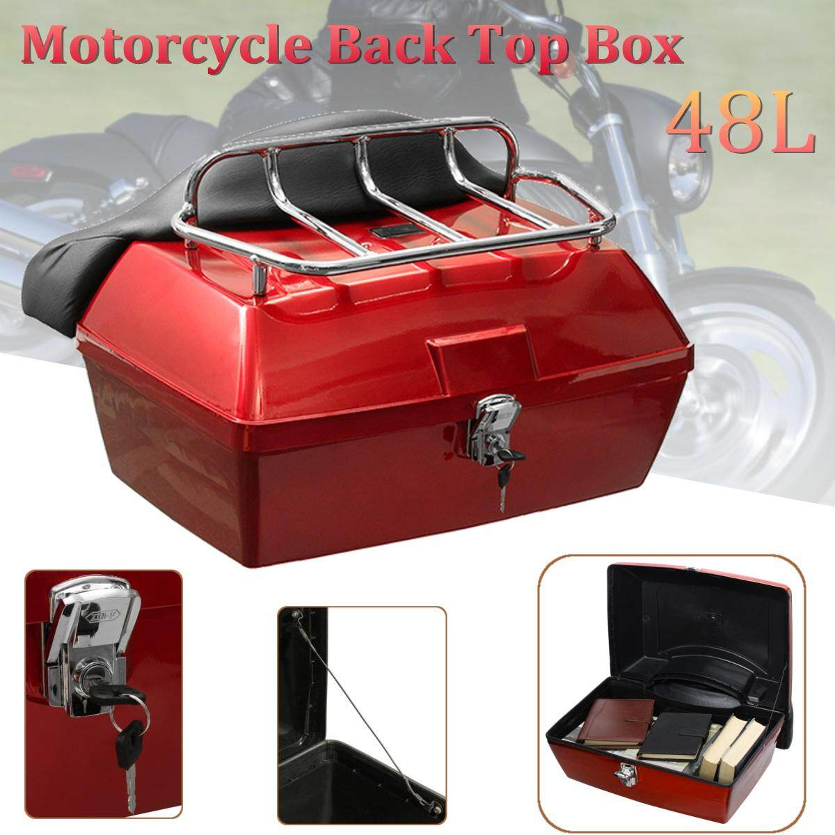 【Flash Deal 】 Red Universal Motorcycle Scooter Motorbike Rear Back Top Tail Box Case Luggage