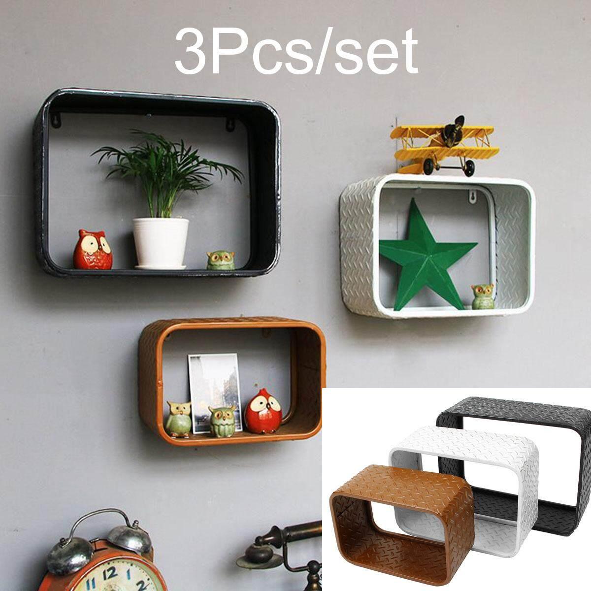 3x Industrial Vintage Floating Shelf Shelving Racks Storage Wall Cabinet Units - intl