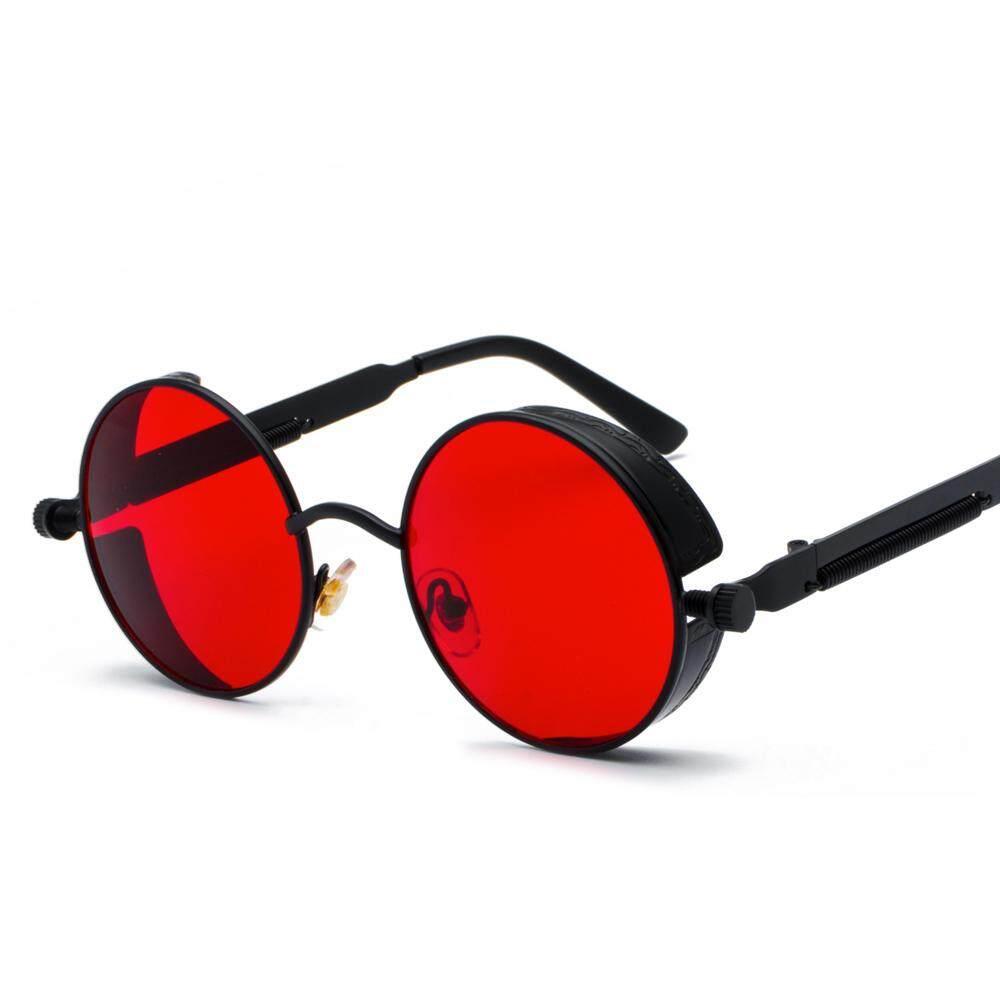 c2c33fcfc Black Metal Round Steampunk Sunglasses Men Women Fashion Summer 2018 Pink  Blue Yellow Red Round Sun