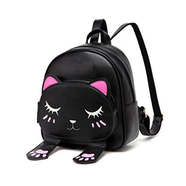 41485609f04a Black College Cute Cat Embroidery Canvas School Laptop Backpack Bags For Women  Kids Plus Size Japanese ...