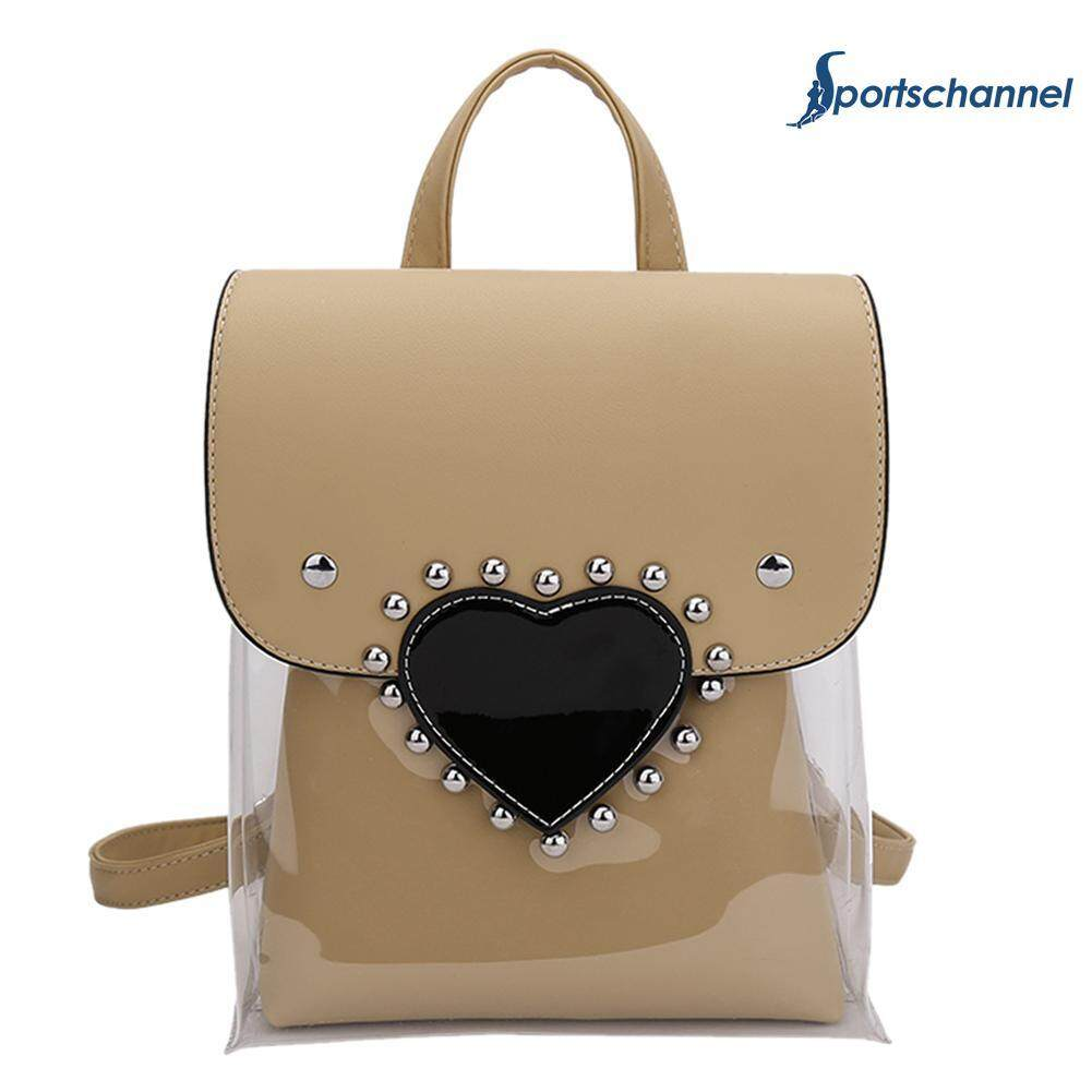 Fashion Clear Love Heart Backpacks Women Rivets Pu Pvc Teen Girls Travel Schoolbags By Sportschannel.