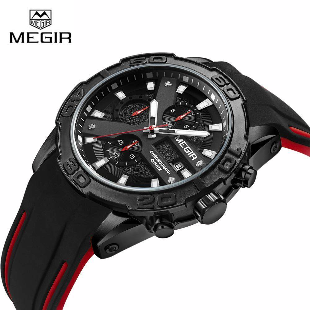 Megir Men Sport Watch Chronograph Fashion Silicone Quartz Army Military Wrist Watches  2055.
